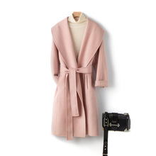 Shuchan Winter Clothes Women Designer Jacket Wool Coat Adjustable Waist  Turn-down Collar Wide-waisted High Street Korean