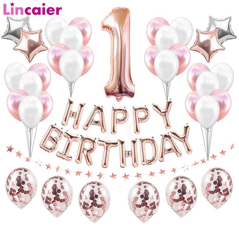 Номер 1 Фольга розовые и золотые воздушные шары 1st Happy День рождения украшения во-первых для маленьких девочек и мальчиков мой 1 год поставки