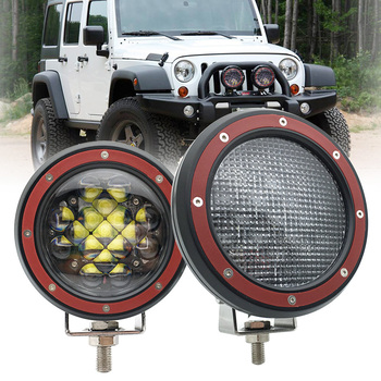 2pcs 12V /24V 5 inch 51W Round LED Work Light Spot Flood beam For 4x4 Offroad Truck Tractor ATV SUV Driving Lamp.