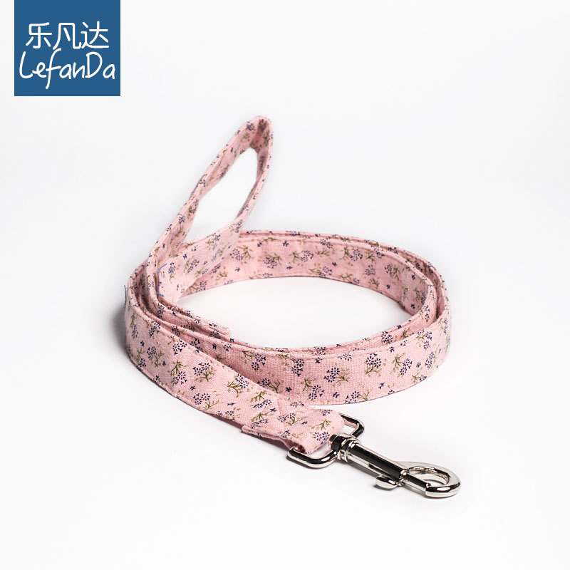 Music Phanda New Style Pink Floral-Print Traction Belt Cotton Dog Hand Holding Rope Collocation Pet Collar Bowtie