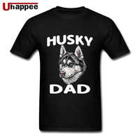 Изготовленные на заказ футболки Хаски папа молодой человек с короткими рукавами круглый вырез органический хлопок футболки Мужская подход...