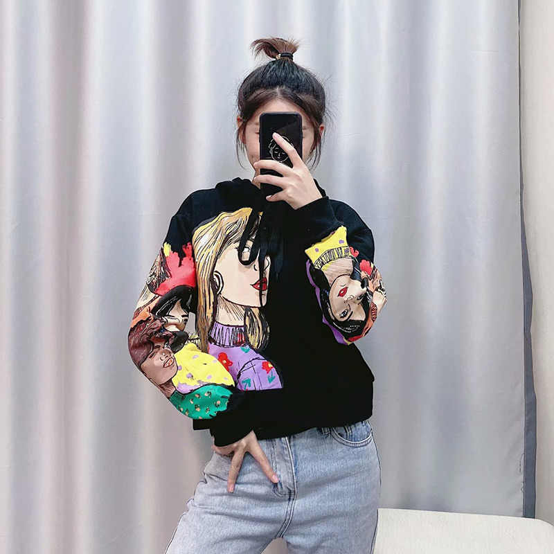 women's charater print black sweatshirt pullovers oversize O neck loose sweatshirts women hoodies 2020 spring casual female tops