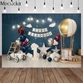 Mocsicka Glücklich Geburtstag Heißer Luft Ballon Sterne Fotografie Hintergrund Auto Blau Wand Hintergrund Kind Foto Dekoration Requisiten Studio