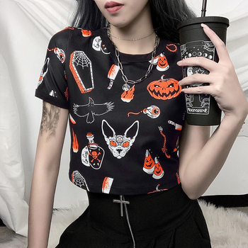 Halloween Pattern Pumpkin Print High Waist Cropped Short T-shirts Tops Women Girls Summer Punk Gothic Round Neck T Shirts Tees blue round neck random print t shirts