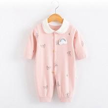 2019 Spring Autumn Baby Girl Romper Cartoon Printing Long Sleeve Cotton Jumpsuit newborns girl clothes