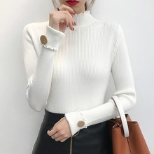 Casual Turtleneck Women Sweater High Elastic Solid 2019 Fall Winter Fashion Slim Sexy Knitted Pullovers