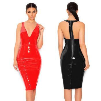 Women Sexy Shiny Halter Red Black PVC Faux Leather Zipper Deep V Dress sexy party dress V-neck Sexy Women Costume