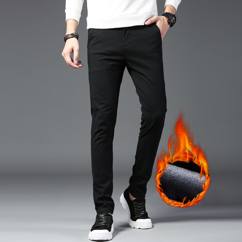 Autumn Winter Pants Men Classic Smart Casual Elastic Long Trousers Male Black Cotton Straight Warm Work Pant Men's Y1997