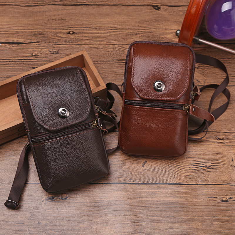 Men's Genuine Leather Small Square Bag High Quality Multi-Function Retro Messenger Business Office Mobile Phone Storage Bag