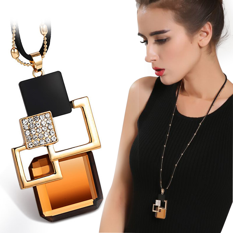 Geometric Crystal Necklaces Pendants For Women Vintage Gold Color Long Chain Necklace Jewelry Fashion Collares Accessories New