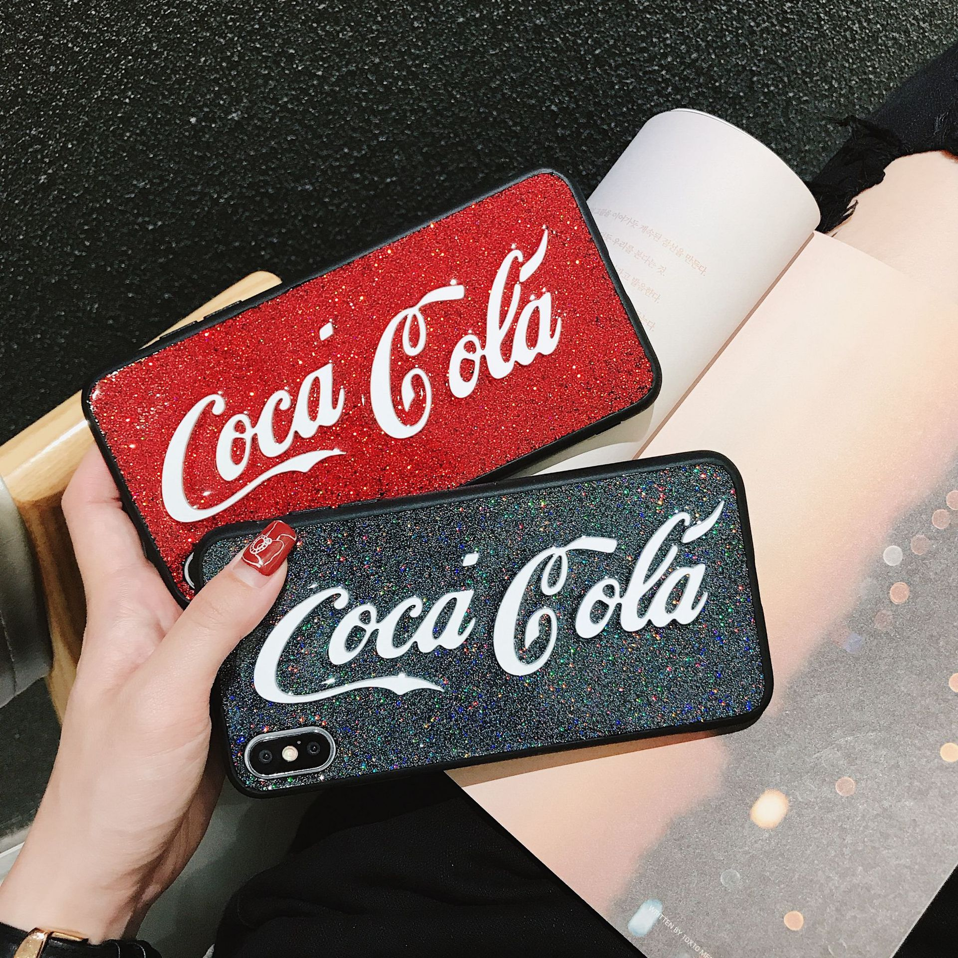 Applicable Coke Phone Case IPhone X Dull Polish Half A Pack Of X's MAX Shimmering Powder IPhone X R/7 P/8P Ultra-Thin Couples 6