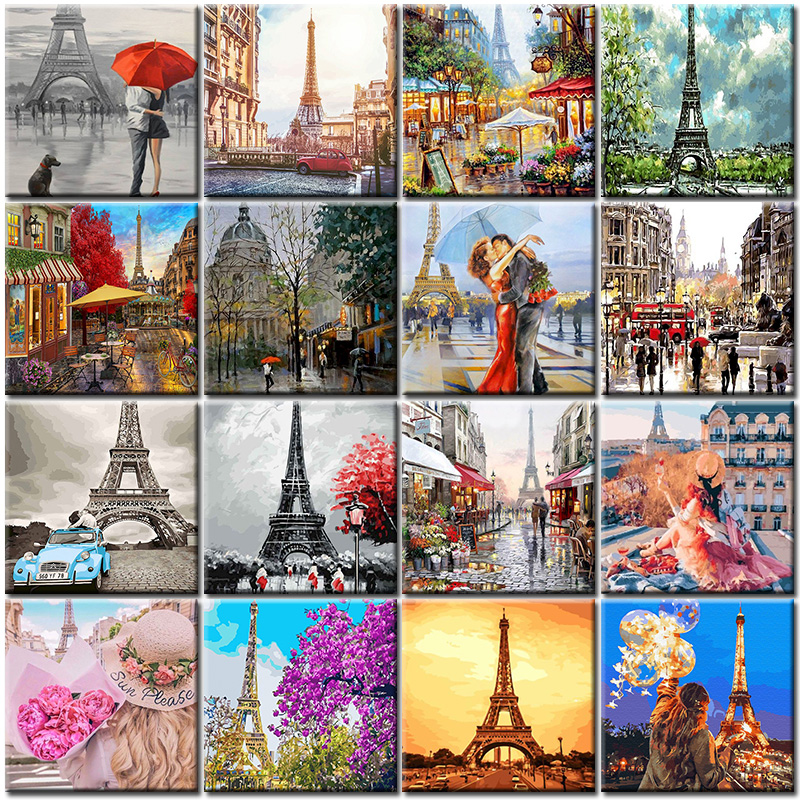Oil Diy Painting By Numbers Hand Painted Street Art Pictures City Landscape Drawing On Canvas Kits Set For Adult Home Decoration