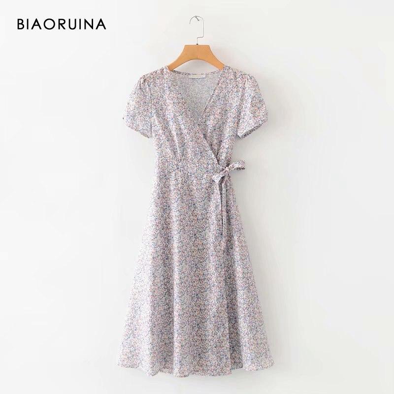 BIAORUINA Women's Floral Printed Casual Long A-line Dress Short Sleeve Female V-neck Side Sashes Elegant Dress Vestido