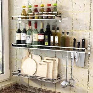 304 Stainless Steel Kitchen Rack Wall Hanging Type Punch Free Seasoning Frame Save Space Supplies Wall Mounted Kitchen Rack