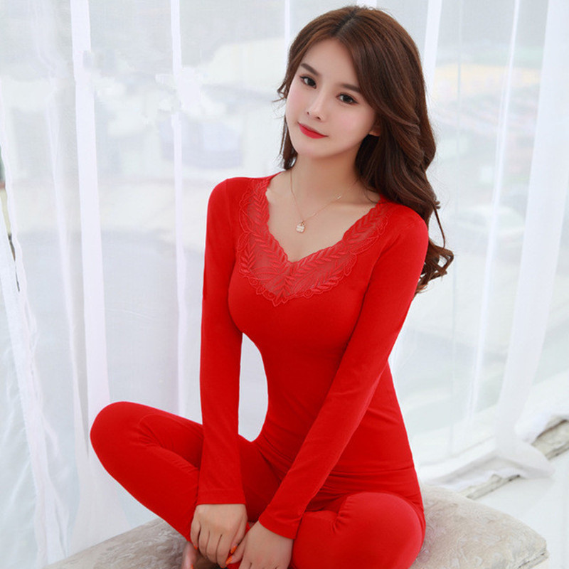 Sexy Slim Festival Red Women's Thermal Underwear Set Soft Warm Winter Women Clothes Long Johns Second Female Skin Lace Underwear