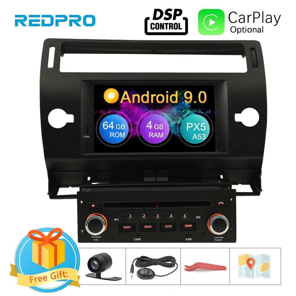 Android 9.0 tela de toque carro gps dvd estéreo para citroen c4 c-triomphe c-quatre 2004-2009 rádio de vídeo wifi fm multimídia player
