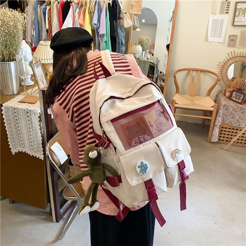 2021 Canvas Large Capacity School Backpack Waterproof Solid Color Student Bag School Supplies Tutorial Bag Korea Stationery