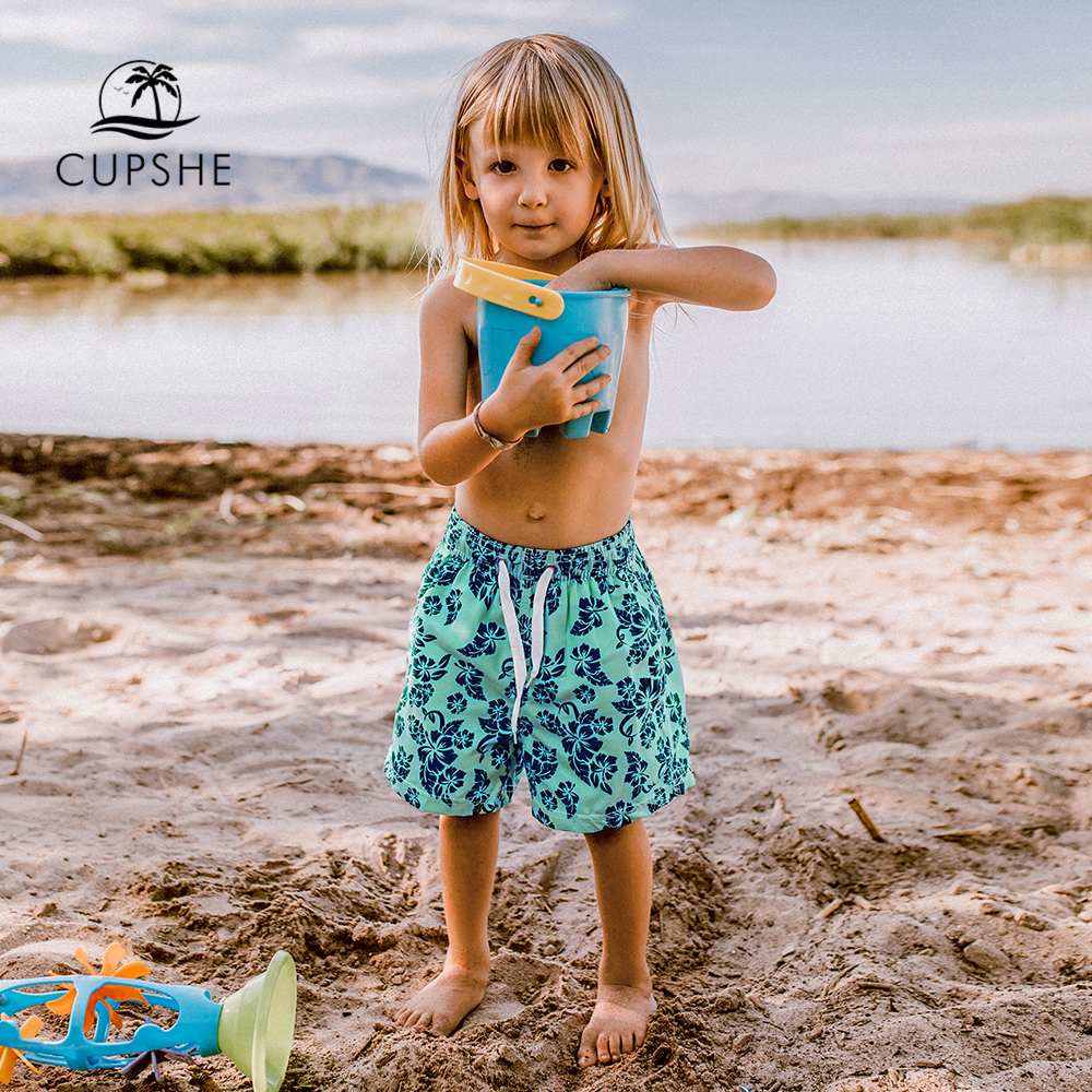 CUPSHE Blue And Black Leafy Print Boys Swim Trunks Swimsuit For Toddler Boys 2020 Summer Children Kids Board Shorts 2-12 Years