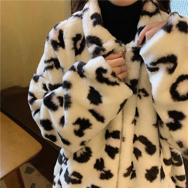 Lismo mais veludo leopardo impressão hoodie feminino inverno quente grosso manga longa mulher roupas casuais solto zíper hoodies feminino topos
