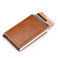 2020 Dropshipping Man Women Smart Wallet Business Card Holder Hasp Rfid Wallet Aluminum Metal Credit Business Mini Card Wallet cheap ZOVYVOL Short 0 065kg Synthetic Leather 9 5cm Other Fashion 9810 Coin Pocket Note Compartment Unisex 6 5cm No Zipper Standard Wallets