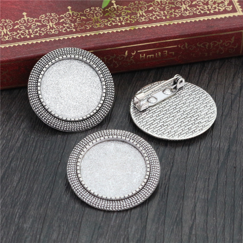 2pcs 20mm Inner Size Antique Silver Plated Brooch Pin Classic Style Cabochon Base Setting  (D1-25)