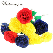 WISHMETYOU Color Wrinkles Paper Handmade Craft Flowers Wrapping Rose Material Scrapbook Decoration Children DIY Decoupage
