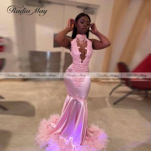 Black Girls Pink Mermaid Prom Dresses with Feathers Train High Neck Plus Size African Graduation Party Gown Formal Evening Dress(China)