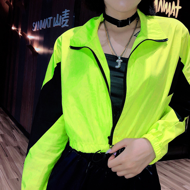 Focal20 Streetwear Neon Hit Color Women Crop Jacket Coat Patchwork Zip Up Lady Outer Top Casual Loose Spring Lady Jackets Coats