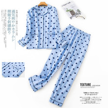Pyjamas Womens 100% Cotton 2 piece Pajamas Long Sleeve Trousers Sleepwear Autumn Winter Pijama Female Print Cartoon Home Wear