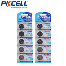 10 шт., 2 упаковки, батарейки PKCELL CR2016 CR 2016, 3 в DL2016 KCR2016 LM2016 BR2016 EE6277, Литиевые кнопочные батарейки для монет