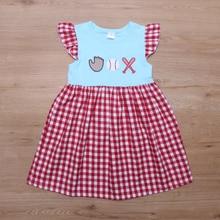 New Baby Girls Dress Kids Newborn Infant Baseball Dress Baby Ball game Clothes Dresses Toddler Winter Girl Blue Summer Children