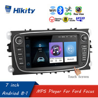 "Hikity 7"" Android 8.1 Car Radio 2 Din Multimedia Player GPS Navigation Wifi Bluetooth for Ford/Focus/S Max/Mondeo 9/Galaxy/C Max"