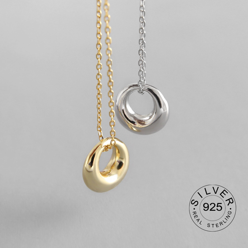 Real 925 Sterling Silver Round Hollow Out Cute Pendant Necklace Fine Jewelry For Women Birthday Party Cute Accessories