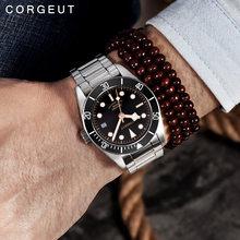 Corgeut-reloj mecánico automático para hombre, marca de lujo, Schwarz Bay, reloj deportivo militar para nadar, relojes de pulsera mecánicos de cuero, 2010C