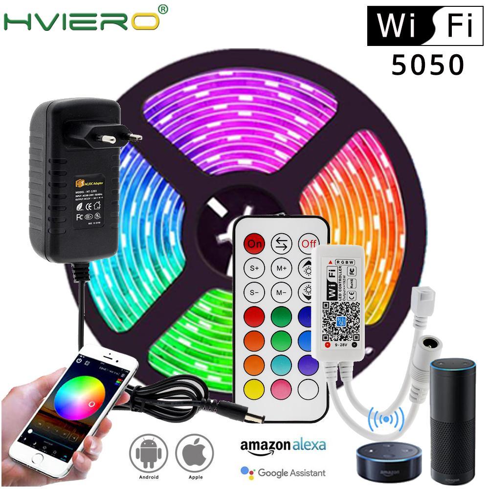 Tira de luces LED RGB RGBW con WIFI/Bluetooth, Set de luces LED DC12V 5050 5m 300LEDs + controlador WIFI / Bluetooth + adaptador de corriente