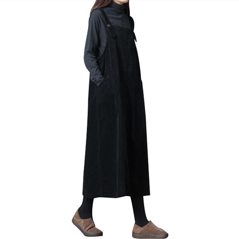 Vintage Women Corduroy Dress Pocket Casual Strap Vest Slip Dress Elegant Ladies Autumn Winter Dress Female Robe Black Coffee