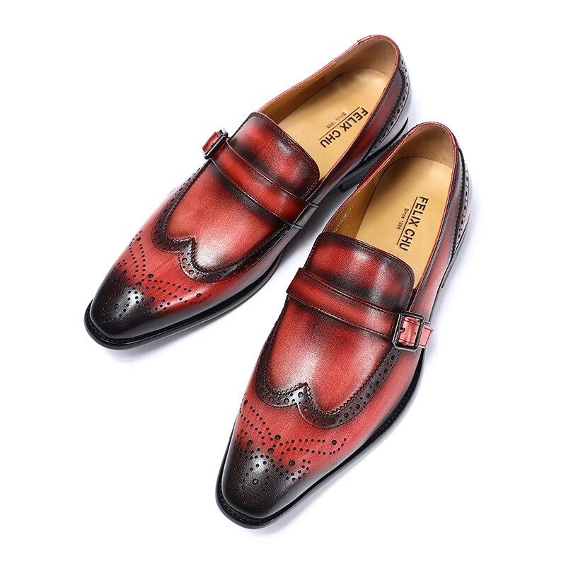 FELIX CHU marki stylowy prawdziwej skóry Slip On męskie buty ślubne buty Wingtip Brogue Party bankiet mężczyźni klamra formalne mokasyny w Buty wizytowe od Buty na  Grupa 2
