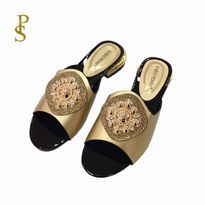 Image 3 - African style womens shoes slippers with metal trim and rhinestones for ladies