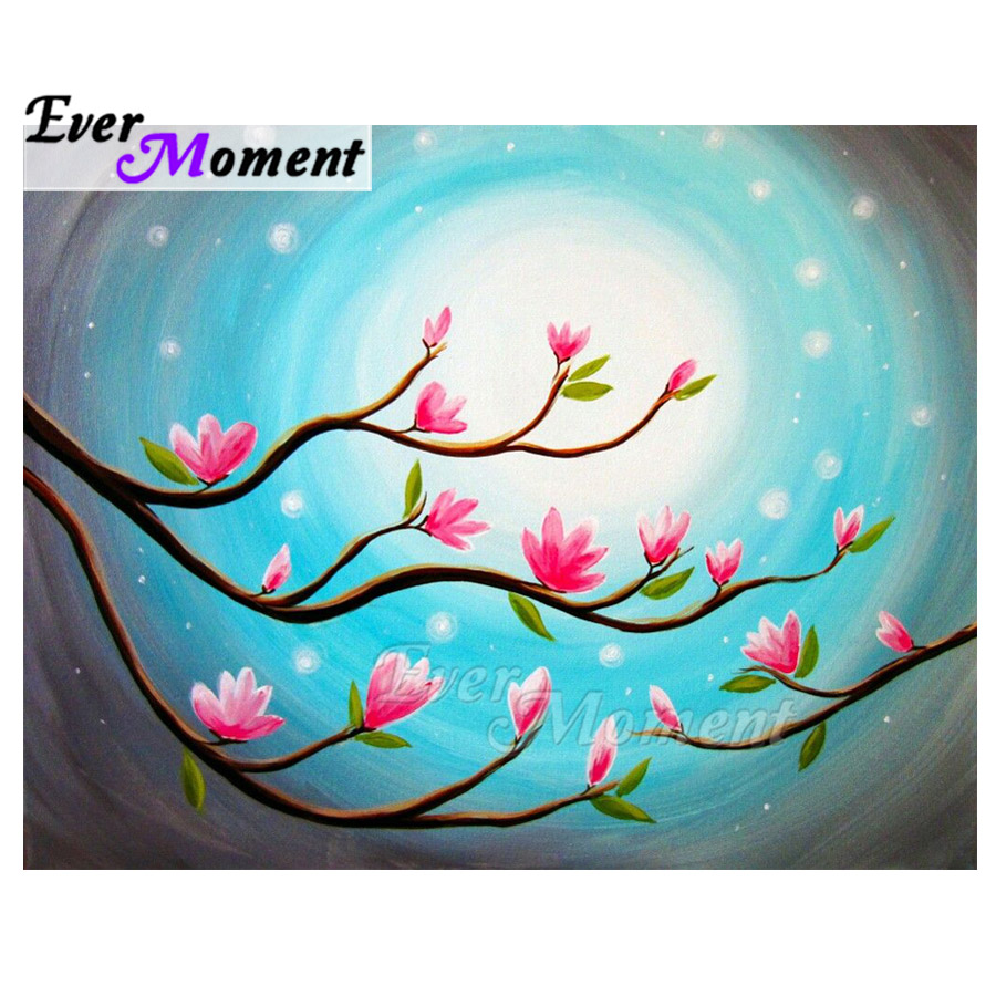 Ever Moment Diamond Painting Pink Flower Tree Artwork 5D DIY Mosaic Full Square Drill Diamond Embroidery Handmade 3F2177