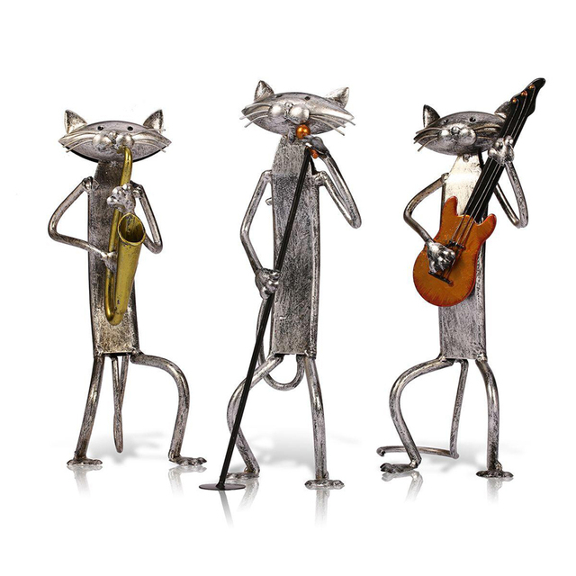 Tooarts Metal Figurine pop A Playing Guitar Saxophone Singing Cat Figurine Furnishing Articles Craft Gift For Home Decoration 1