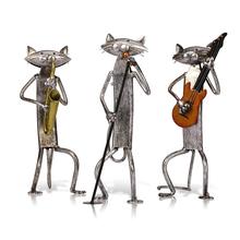 Tooarts metalowa figurka pop gra na gitarze saksofon śpiewający figurka kota artykuły wyposażenia wnętrz rzemiosło prezent do dekoracji wnętrz tanie tanio Zwierząt Nowoczesne
