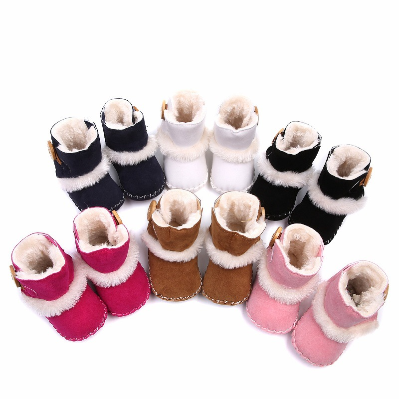 Cute Baby Boy Girl Boots High Soft Bottom Non-slip Winter Warm Fur Crochet Snow Boots Newborn Baby Soft Bottom Shoes