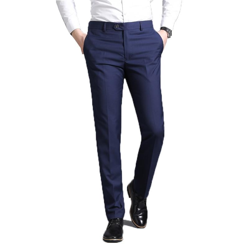 Men Suit Pants 2019 Summer Men Dress Pants Business Office Straight Trousers Mens Navy Blue Formal Pants Male Pantalon Hombre 38