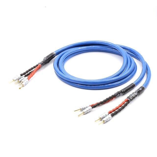 Çift LS 180 OFC gümüş kaplama ses hoparlör kablosu hoparlör CMC ile muz konektörü hifi hoparlör kablosu