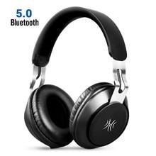 Oneodio fone de ouvido estéreo portátil, fone de ouvido sem fio bluetooth 5.0, headset com microfone para iphone e xiaomi