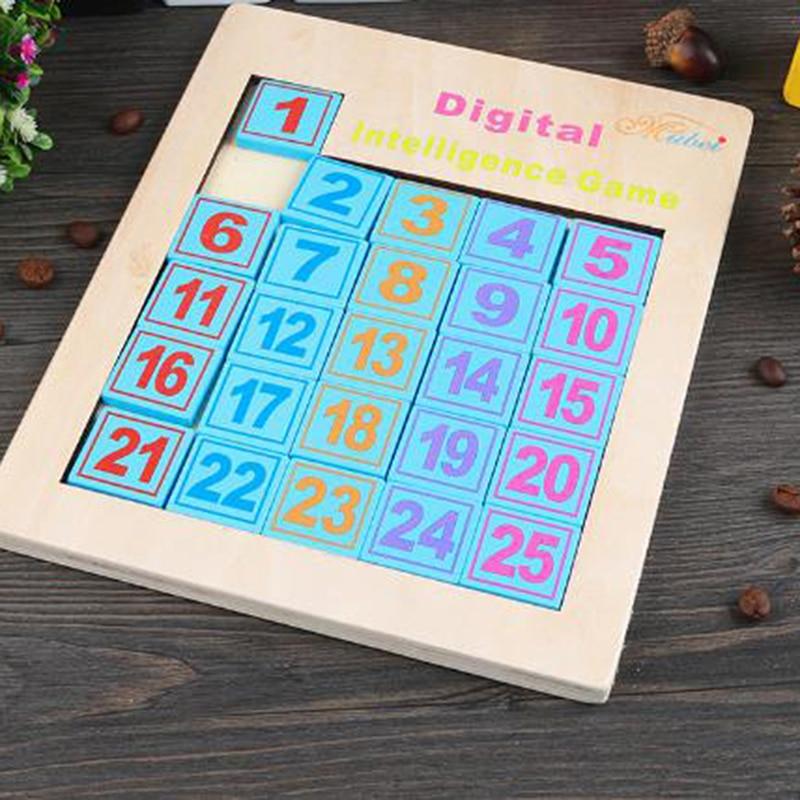 Children's Educational Puzzles Sliding Math Puzzle Intelligence Game Wooden Digital Klotski Adult Toys Wood Puzzles Classic Toy