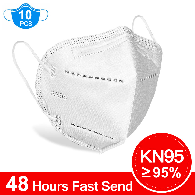 10Pcs N95 Mask Anti Virus Flu Anti Infection KN95 Mouth Protective Masks Protective Face Masks Same As 4 Layers Korea KF94 FFP2