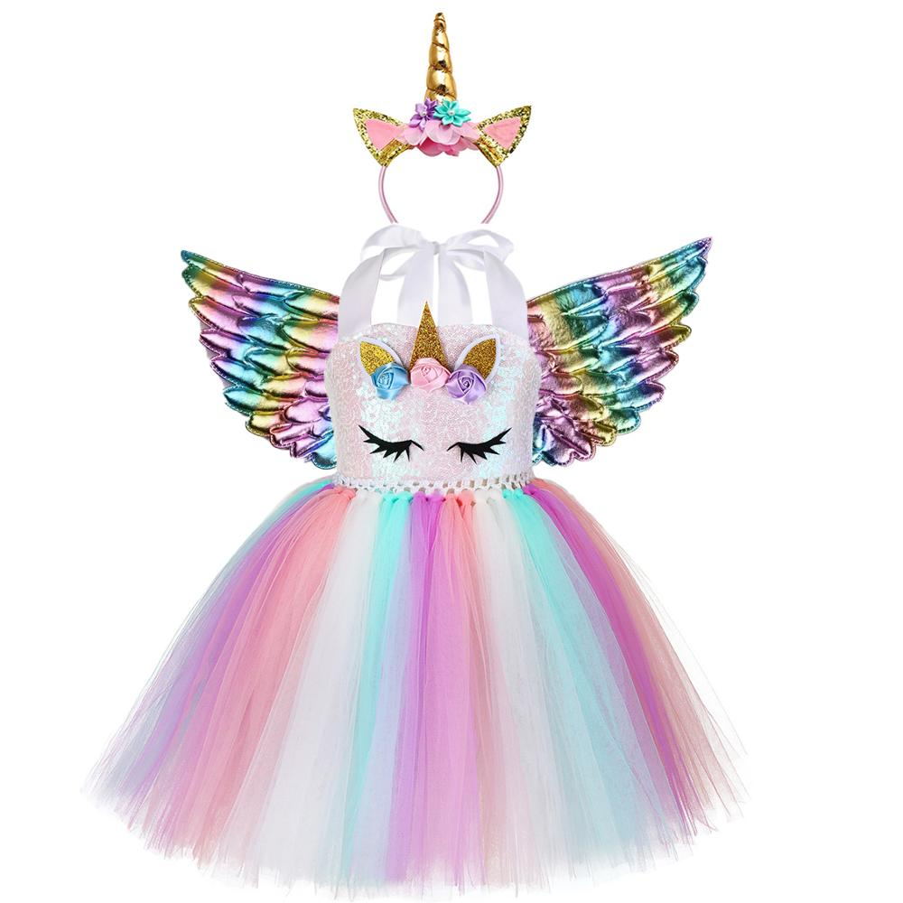 Sequin-Dress Headband Unicorn Cake Fluffy Rainbow Birthday-Party Newborn-Baby Princess title=