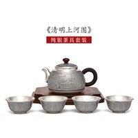 Sterling Silber 999 Tee Set Handmade Silber Tee Set Qingming Shanghe Tu Kung Fu Tee Set Silber Chinesische Haushalt Silber teekanne-in Teegeschirr-Sets aus Heim und Garten bei