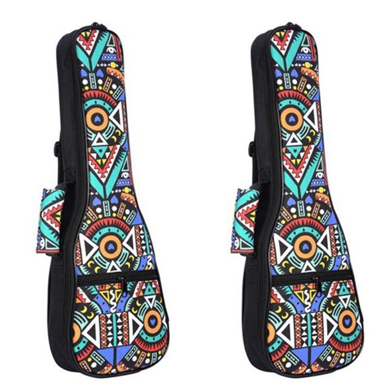 2Pcs Double Strap Hand Folk Ukulele Carry Bag Cotton Padded Case For Ukulele Guitar Parts Accessories,Blue-Graffiti, 26 Inch & 2